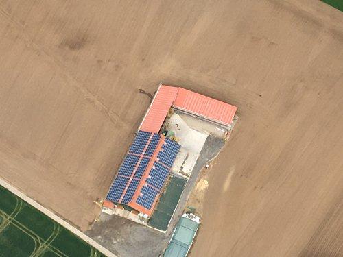 Luftaufnahme der Photovoltaikanlage in Borgentreich
