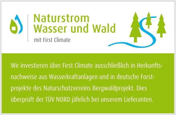 Label Naturstrom Wasser und Wald