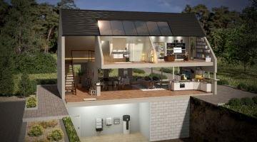 Haus mit verschiedenen Elementen der PV-Anlage